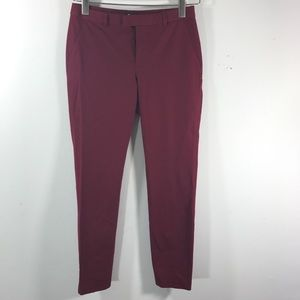Madewell burgundy work trousers stretch